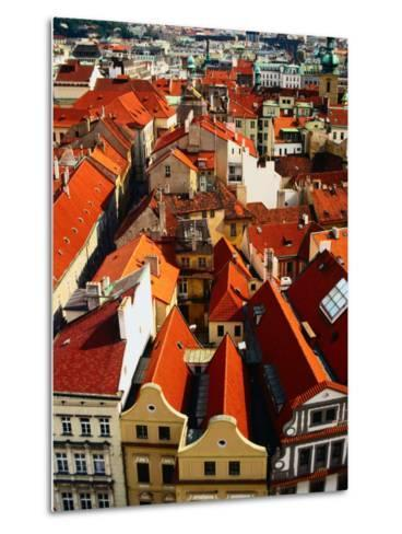 Looking Over Old Town Towards Church of St. Gall, Prague, Czech Republic-Jonathan Smith-Metal Print