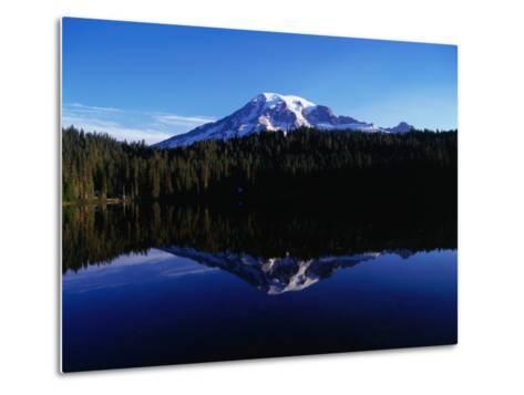 Mt. Rainier Reflected in Reflection Lake, Mt. Rainier National Park, USA-Brent Winebrenner-Metal Print