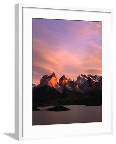 Sunrise Over Lago Pehoe and Cuernos Del Paine, Torres Del Paine National Park, Chile-Brent Winebrenner-Framed Art Print