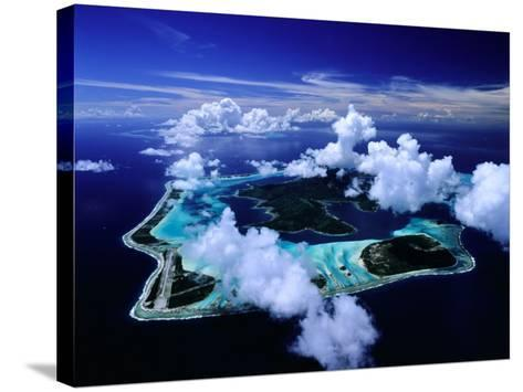 Aerial View of Islands and Surrounding Reefs, French Polynesia-Manfred Gottschalk-Stretched Canvas Print