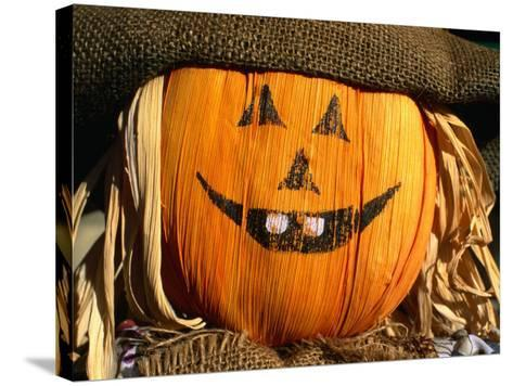 Halloween Face on Scarecrow, Rockies Region Creston, British Columbia, Canada-Barnett Ross-Stretched Canvas Print