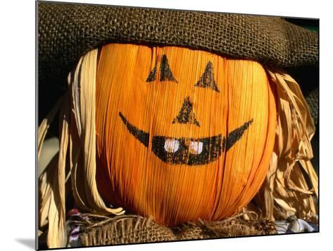 Halloween Face on Scarecrow, Rockies Region Creston, British Columbia, Canada-Barnett Ross-Mounted Photographic Print