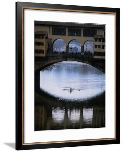 Rower on Arno River Passing Beneath Ponte Vecchio, Florence, Tuscany, Italy-Doug McKinlay-Framed Art Print
