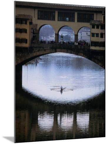 Rower on Arno River Passing Beneath Ponte Vecchio, Florence, Tuscany, Italy-Doug McKinlay-Mounted Photographic Print