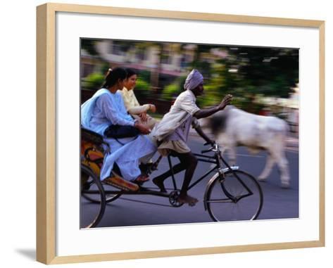 Young Women on Cycle Rickshaw, Lucknow, Uttar Pradesh, India-Greg Elms-Framed Art Print