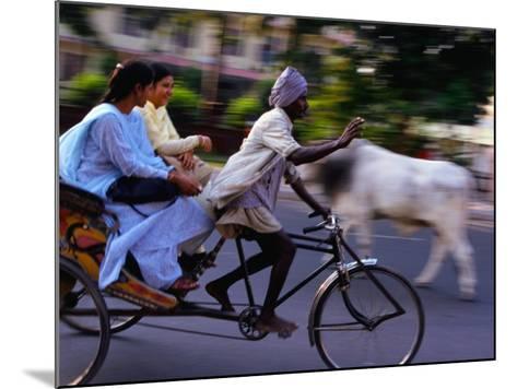 Young Women on Cycle Rickshaw, Lucknow, Uttar Pradesh, India-Greg Elms-Mounted Photographic Print
