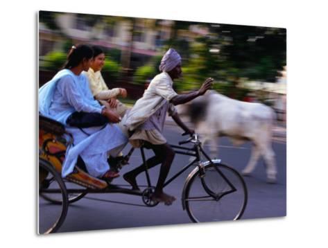 Young Women on Cycle Rickshaw, Lucknow, Uttar Pradesh, India-Greg Elms-Metal Print