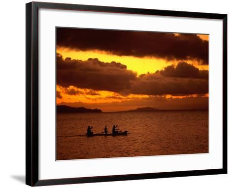 Sunset Over the Sea with an Outrigger in Silhouette, Upolu, Samoa, Upolu-Peter Hendrie-Framed Art Print