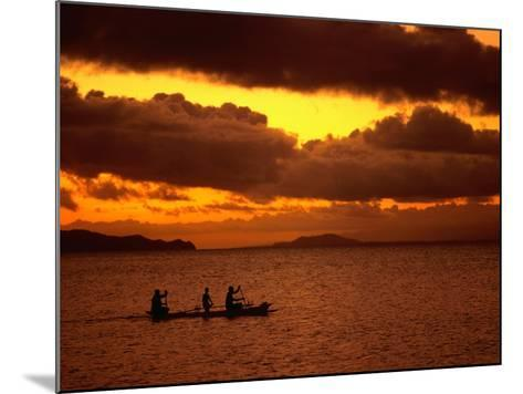 Sunset Over the Sea with an Outrigger in Silhouette, Upolu, Samoa, Upolu-Peter Hendrie-Mounted Photographic Print