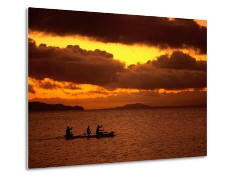 Sunset Over the Sea with an Outrigger in Silhouette, Upolu, Samoa, Upolu-Peter Hendrie-Metal Print