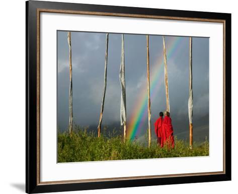 Rainbow and Monks with Praying Flags, Phobjikha Valley, Gangtey Village, Bhutan-Keren Su-Framed Art Print