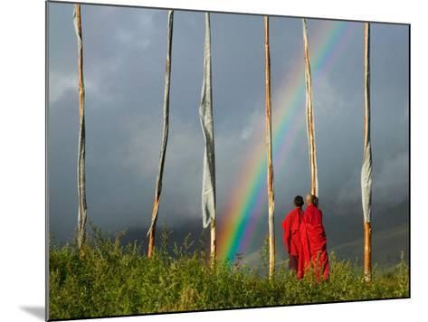 Rainbow and Monks with Praying Flags, Phobjikha Valley, Gangtey Village, Bhutan-Keren Su-Mounted Photographic Print
