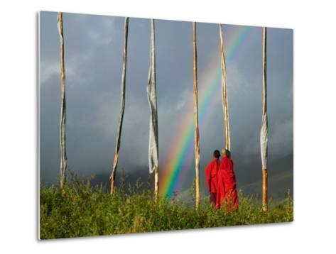 Rainbow and Monks with Praying Flags, Phobjikha Valley, Gangtey Village, Bhutan-Keren Su-Metal Print