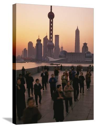 Tai-Chi on the Bund, Oriental Pearl TV Tower and High Rises, Shanghai, China-Keren Su-Stretched Canvas Print