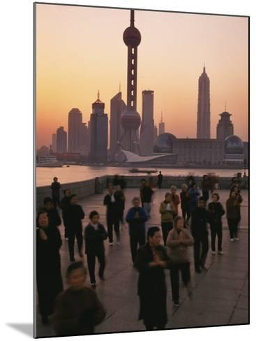 Tai-Chi on the Bund, Oriental Pearl TV Tower and High Rises, Shanghai, China-Keren Su-Mounted Photographic Print