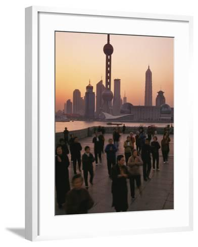 Tai-Chi on the Bund, Oriental Pearl TV Tower and High Rises, Shanghai, China-Keren Su-Framed Art Print