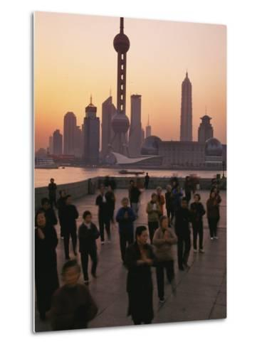 Tai-Chi on the Bund, Oriental Pearl TV Tower and High Rises, Shanghai, China-Keren Su-Metal Print