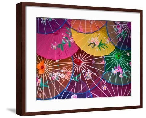 Colorful Silk Umbrellas, China-Keren Su-Framed Art Print