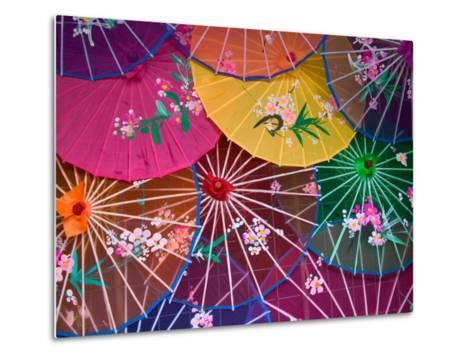 Colorful Silk Umbrellas, China-Keren Su-Metal Print