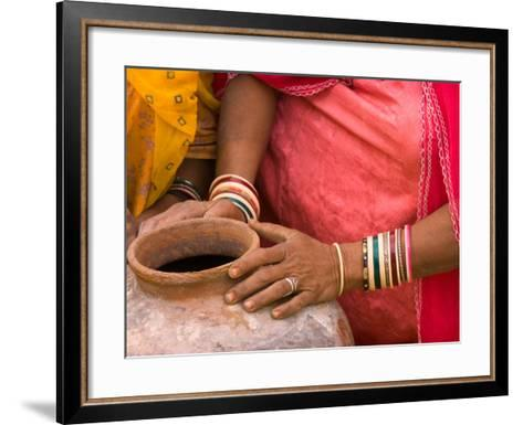 Woman's Hands on a Pottery Jug for Carrying Water, Thar Desert, Jaisalmer, Rajasthan, India-Philip Kramer-Framed Art Print