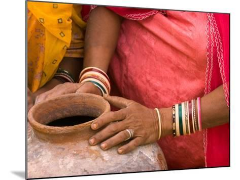 Woman's Hands on a Pottery Jug for Carrying Water, Thar Desert, Jaisalmer, Rajasthan, India-Philip Kramer-Mounted Photographic Print