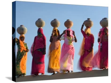 Women Carrying Pottery Jugs of Water, Thar Desert, Jaisalmer, Rajasthan, India-Philip Kramer-Stretched Canvas Print
