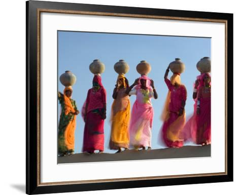 Women Carrying Pottery Jugs of Water, Thar Desert, Jaisalmer, Rajasthan, India-Philip Kramer-Framed Art Print