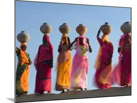 Women Carrying Pottery Jugs of Water, Thar Desert, Jaisalmer, Rajasthan, India-Philip Kramer-Mounted Photographic Print