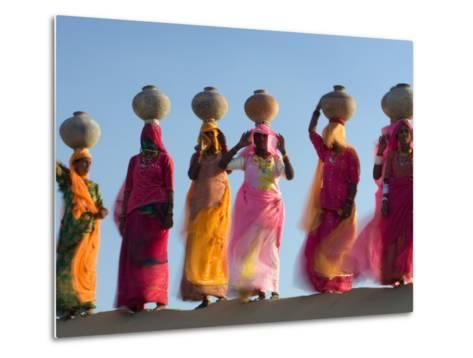 Women Carrying Pottery Jugs of Water, Thar Desert, Jaisalmer, Rajasthan, India-Philip Kramer-Metal Print