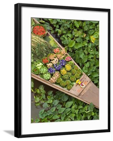 Detail of Boat in Water Lilies, Floating Market, Bangkok, Thailand-Philip Kramer-Framed Art Print