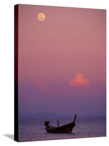 Full Moon and Sunset Behind Fishing Boat, Phi Phi Island, Thailand-Claudia Adams-Stretched Canvas Print
