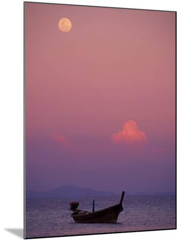 Full Moon and Sunset Behind Fishing Boat, Phi Phi Island, Thailand-Claudia Adams-Mounted Photographic Print