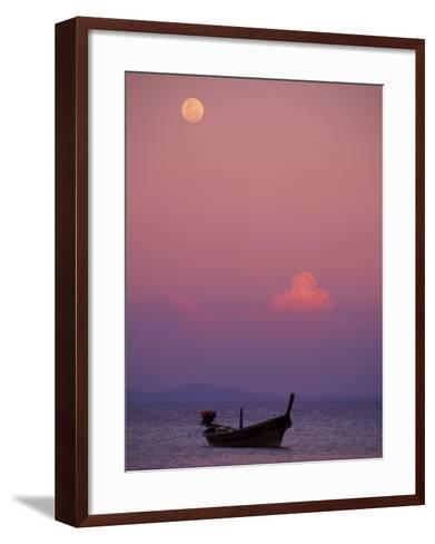 Full Moon and Sunset Behind Fishing Boat, Phi Phi Island, Thailand-Claudia Adams-Framed Art Print