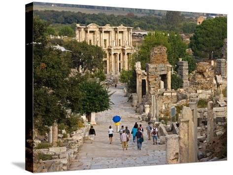 Overlook of Library with Tourists, Ephesus, Turkey-Joe Restuccia III-Stretched Canvas Print