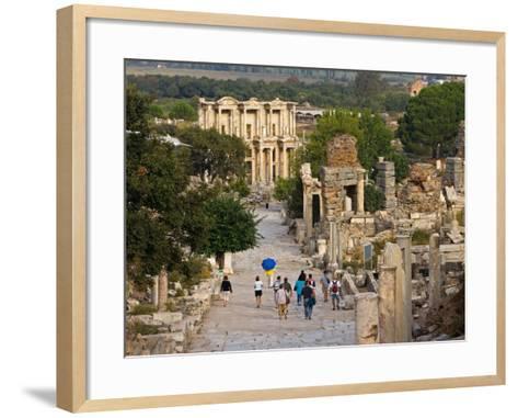Overlook of Library with Tourists, Ephesus, Turkey-Joe Restuccia III-Framed Art Print