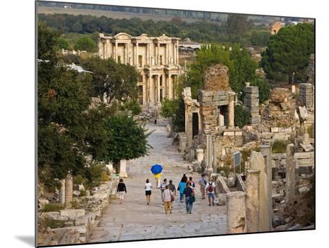 Overlook of Library with Tourists, Ephesus, Turkey-Joe Restuccia III-Mounted Photographic Print