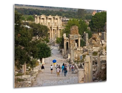 Overlook of Library with Tourists, Ephesus, Turkey-Joe Restuccia III-Metal Print