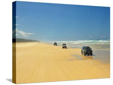 Four Wheel Drives, Seventy Five Mile Beach, Fraser Island, Queensland, Australia-David Wall-Stretched Canvas Print