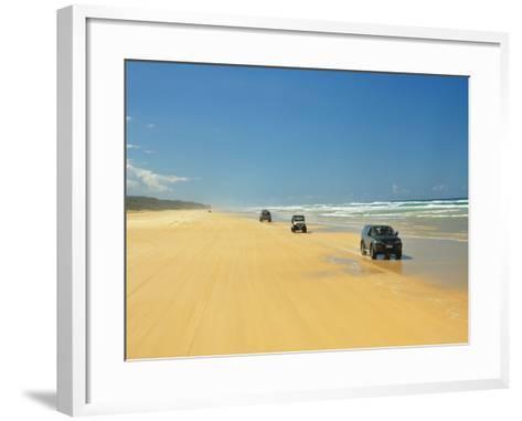 Four Wheel Drives, Seventy Five Mile Beach, Fraser Island, Queensland, Australia-David Wall-Framed Art Print
