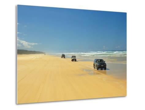 Four Wheel Drives, Seventy Five Mile Beach, Fraser Island, Queensland, Australia-David Wall-Metal Print