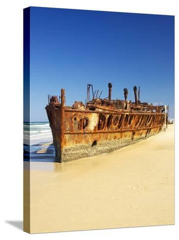 Wreck of the Maheno, Seventy Five Mile Beach, Fraser Island, Queensland, Australia-David Wall-Stretched Canvas Print