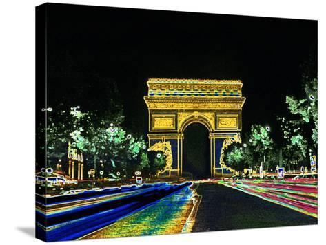 Champs Elysees and Arc de Triomphe, Paris, France-Bill Bachmann-Stretched Canvas Print