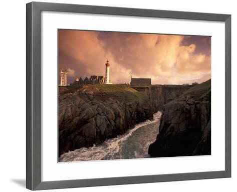 Pointe De St. Mathieu Lighthouse at Dawn, Brittany, France-Walter Bibikow-Framed Art Print