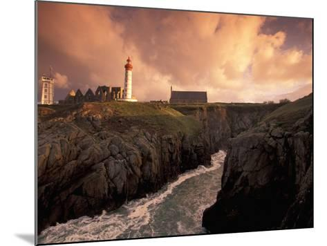 Pointe De St. Mathieu Lighthouse at Dawn, Brittany, France-Walter Bibikow-Mounted Photographic Print