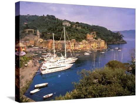 View from Chiesa S. Giorgio, Riviera di Levante, Liguria, Portofino, Italy-Walter Bibikow-Stretched Canvas Print