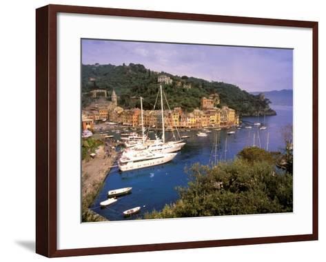 View from Chiesa S. Giorgio, Riviera di Levante, Liguria, Portofino, Italy-Walter Bibikow-Framed Art Print