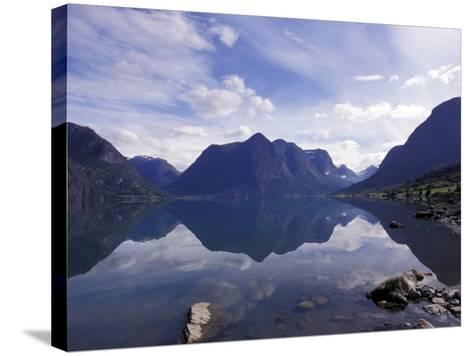 Mountain Reflecting in Fjord Waters, Norway-Michele Molinari-Stretched Canvas Print