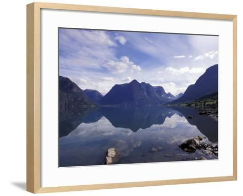 Mountain Reflecting in Fjord Waters, Norway-Michele Molinari-Framed Art Print