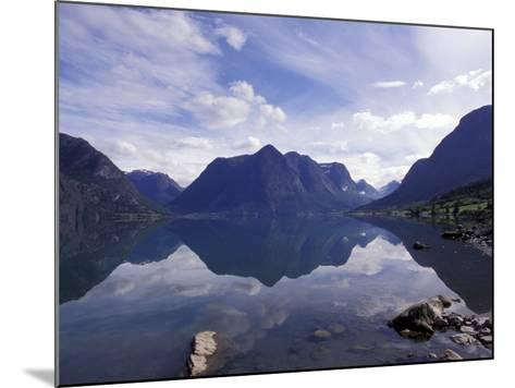 Mountain Reflecting in Fjord Waters, Norway-Michele Molinari-Mounted Photographic Print