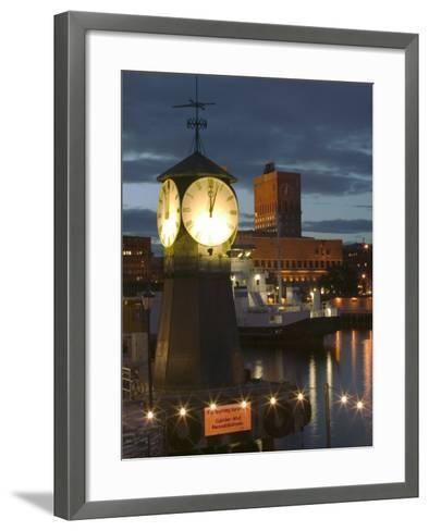 Waterfont Area with Aker Brygge, Oslo Norway-Russell Young-Framed Art Print